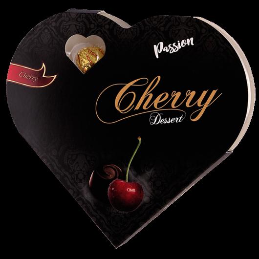 Szívdesszert konyakmeggy étcsokoládéval